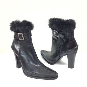 9 West Studio Faux Fur Leather Ankle Boots, 6.5m